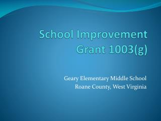 School Improvement Grant 1003(g)