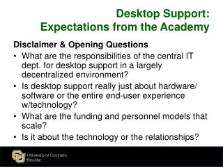 Desktop Support :  Expectations  from the Academy