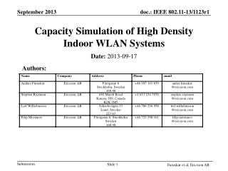 Capacity Simulation of High Density Indoor WLAN Systems
