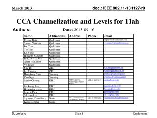 CCA Channelization and Levels for  11ah