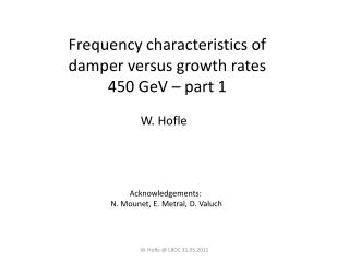 Frequency characteristics of  damper versus growth rates 450  GeV  � part 1