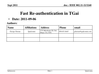 Fast Re-authentication  in  TGai