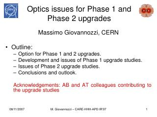 Optics issues for Phase 1 and Phase 2 upgrades
