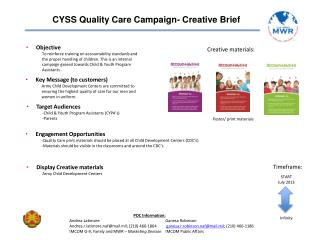 CYSS  Quality Care Campaign-  Creative Brief