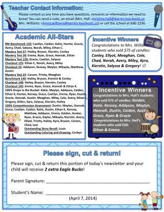 Teacher Contact Information: