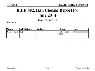 IEEE 802.11ah Closing Report for July  2014