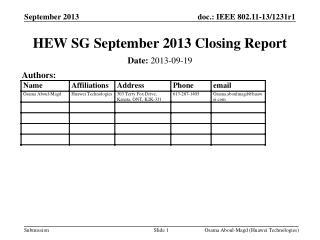 HEW SG September 2013 Closing Report
