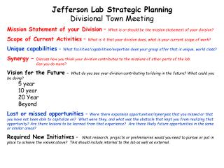 Jefferson Lab Strategic Planning Divisional Town Meeting
