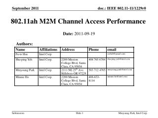 802.11ah M2M Channel Access Performance