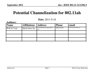 Potential Channelization for 802.11ah