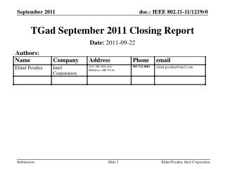 TGad September 2011 Closing Report