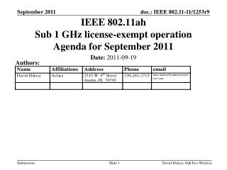 IEEE 802.11ah Sub 1 GHz license-exempt operation Agenda for September 2011