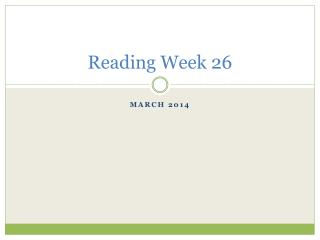 Reading Week 26