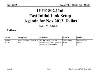 IEEE 802.11ai Fast Initial Link Setup  Agenda for  Nov  2013  Dallas