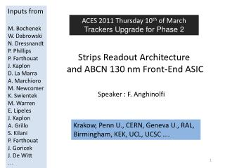 Strips Readout Architecture and ABCN  130 nm  Front-End ASIC