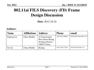 802.11ai FILS Discovery (FD) Frame Design Discussion