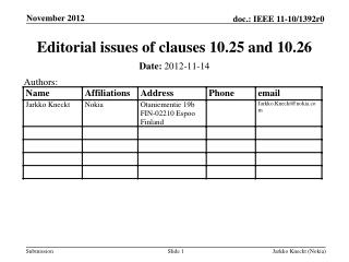 Editorial issues of clauses 10.25 and 10.26