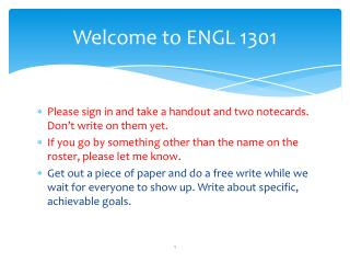 Welcome to ENGL 1301