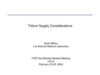 Tritium Supply Considerations