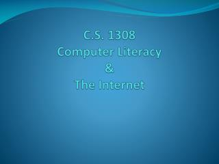 C.S. 1308 Computer Literacy & The Internet