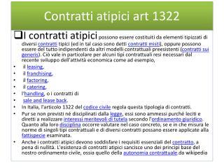 Contratti atipici art 1322