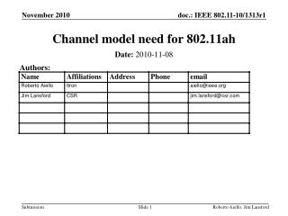 Channel model need for 802.11ah