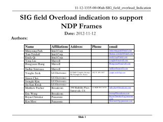 SIG field Overload indication to support NDP Frames