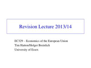 Revision Lecture 2013/14