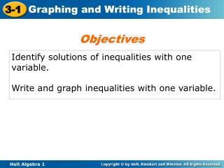 Identify solutions of inequalities with one variable.