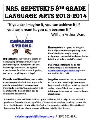 Mrs. Repetski's 8 th  Grade Language Arts 2013-2014