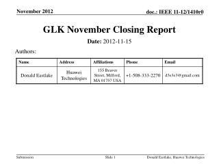 GLK November Closing Report