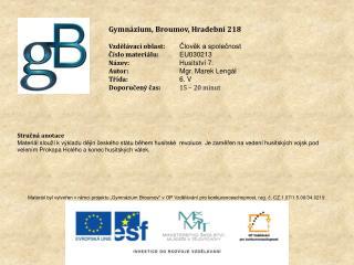 Gymnázium, Broumov, Hradební 218 Vzdělávací oblast: Člověk a společnost Číslo materiálu: EU030213