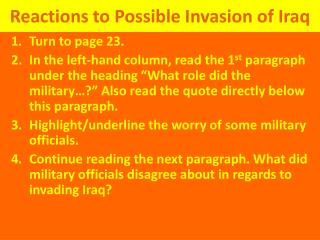 Reactions to Possible Invasion of Iraq