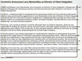 Corcentric Announces Larry Nemerofsky as Director of Client