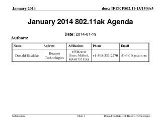 January 2014 802.11ak Agenda