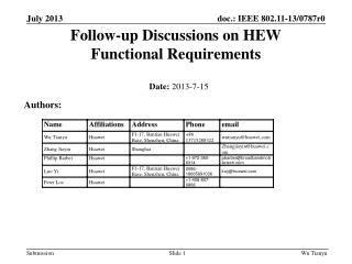 Follow-up Discussions on HEW  Functional Requirements
