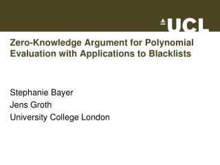 Zero-Knowledge Argument for Polynomial Evaluation with Applications to Blacklists