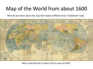 Map of the World from about 1600