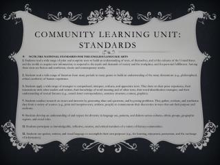 Community Learning Unit :  Standards
