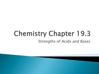 Chemistry Chapter 19.3