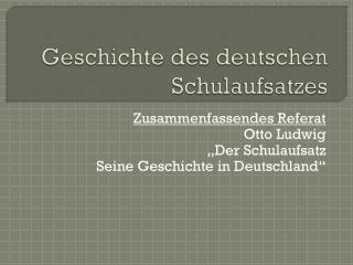 Geschichte des deutschen Schulaufsatzes