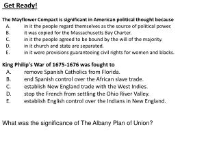Get Ready! The Mayflower Compact is significant in American political thought because