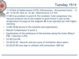 Tuesday 19/4