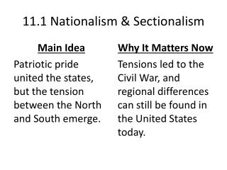 11.1 Nationalism & Sectionalism