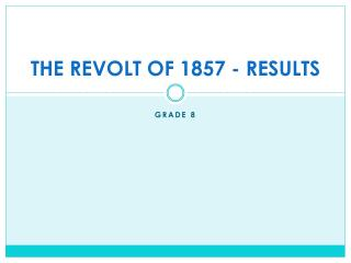 THE REVOLT OF 1857 - RESULTS