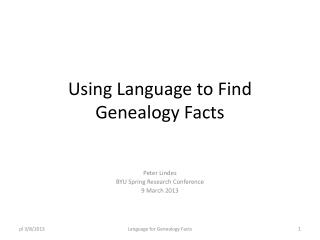 Using Language to Find Genealogy Facts
