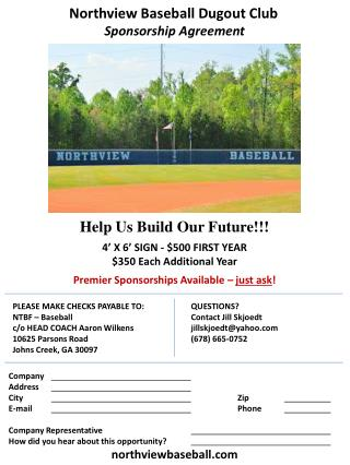 Help Us Build Our Future!!! 4' X 6' SIGN - $500 FIRST YEAR $350 Each Additional Year