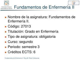Fundamentos de Enfermería II
