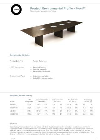 Product Environmental Profile – Host™