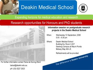 Information session on postgraduate research projects in the Deakin Medical School